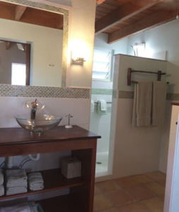 Updated bathrooms with vessel sinks in both upper Suites