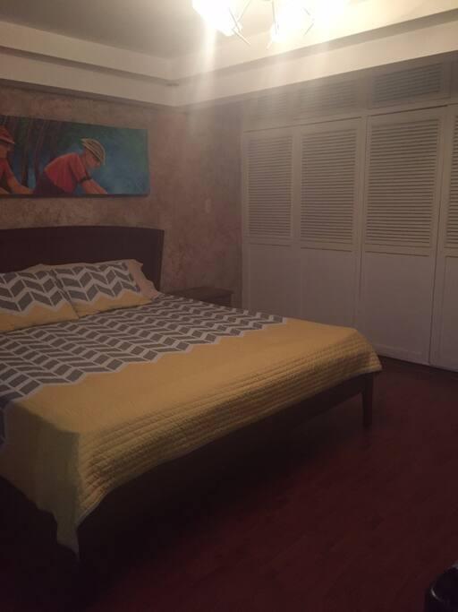 Habitación tranquila y amplia, con espacio disponible en closet.