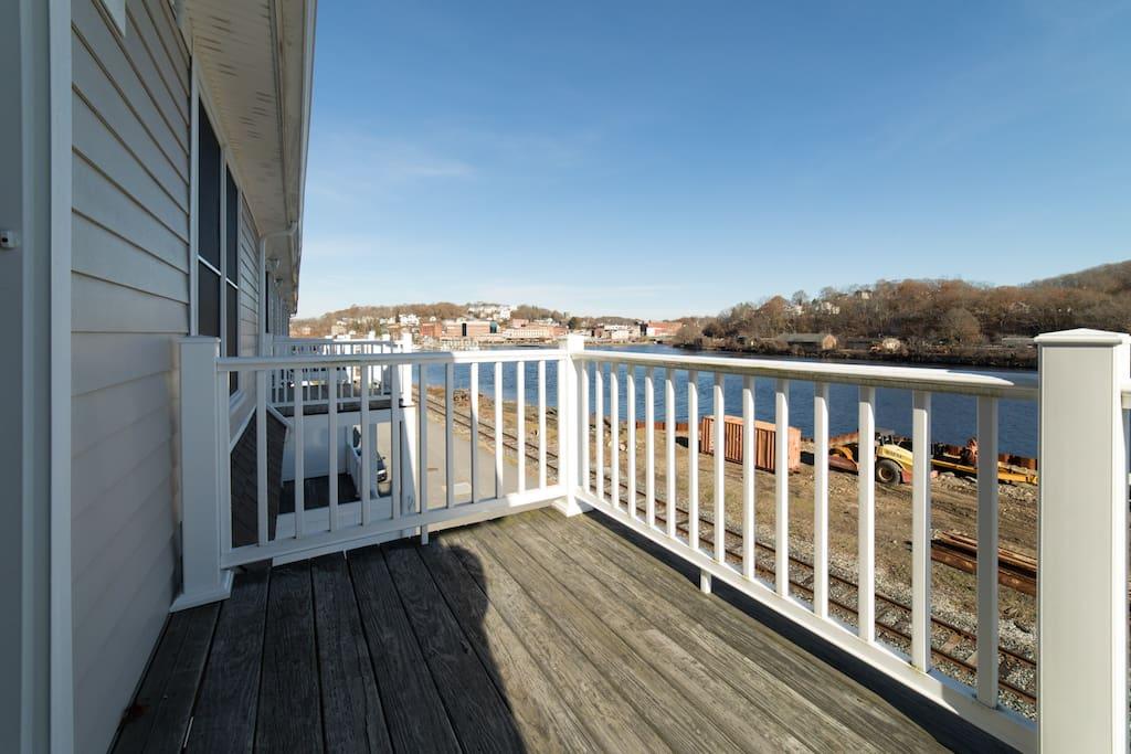 Beautiful balcony facing the river.