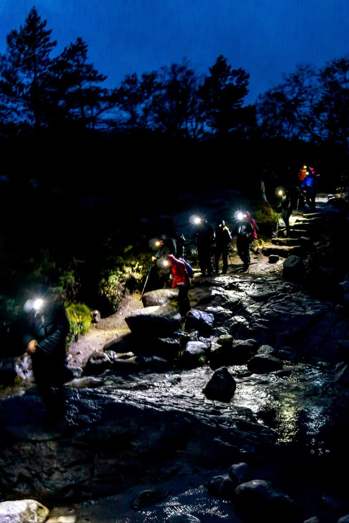 Hiking in the dark. Exciting!