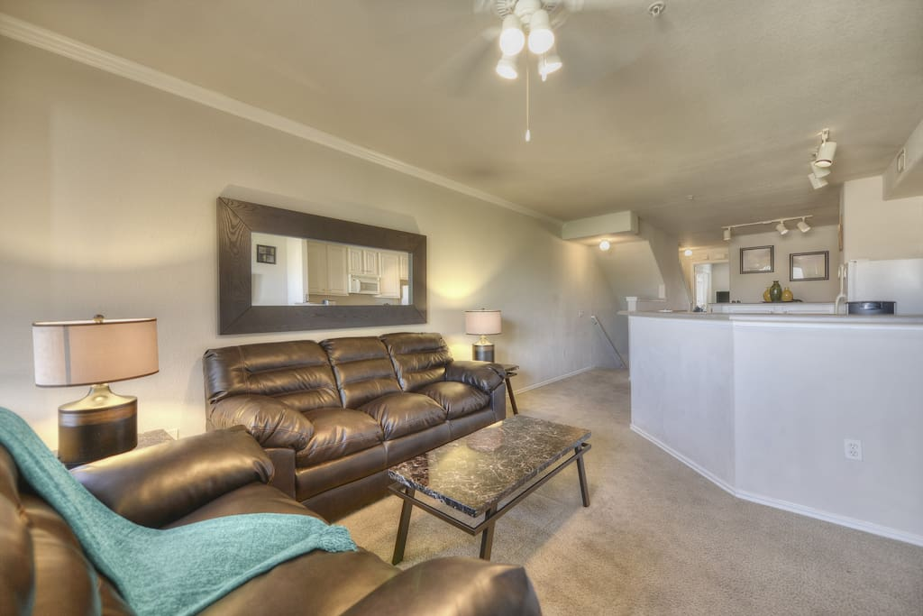 Spacious Living Room with new 60 inch Smart TV!