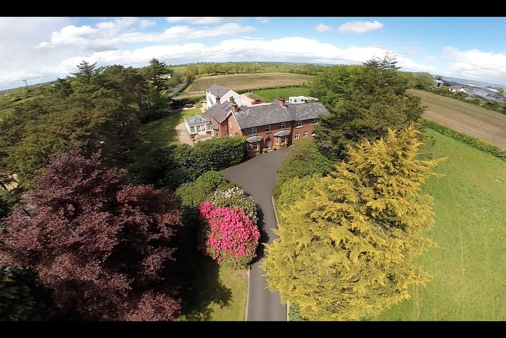 Aerial shot of Lisnacurran B&B and the Barn at Lisnacurran