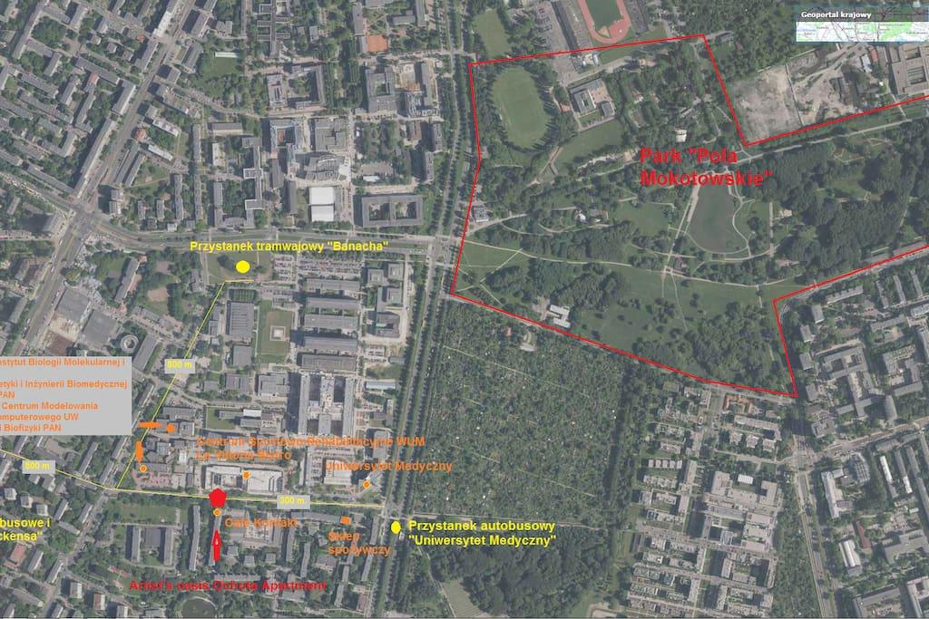 Mapa lokalizacyjna okolicy apartamentu