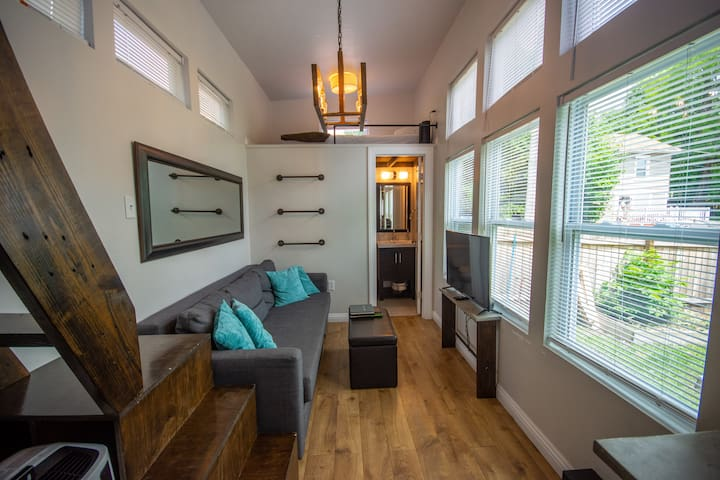 Spacious Living Room with 11 foot ceilings, 9 windows, and Smart TV.