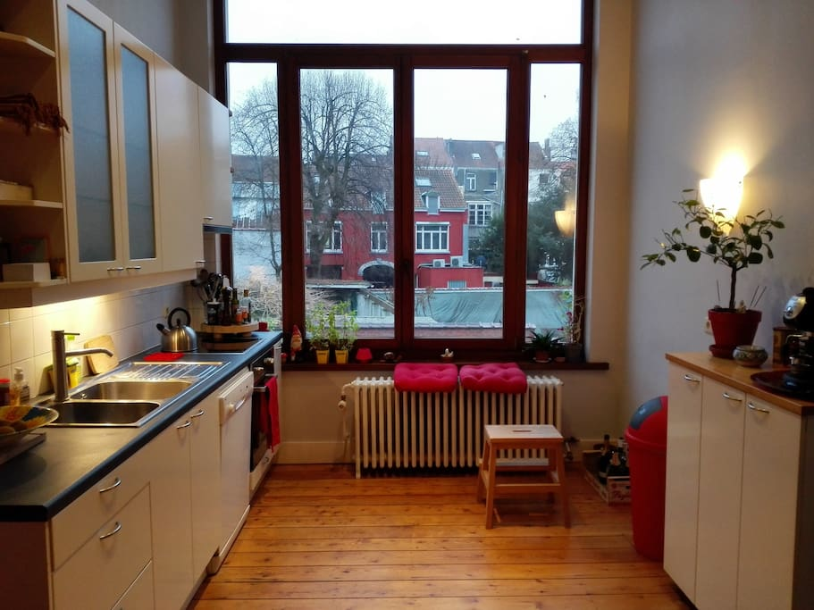 fully equipped kitchen with a view on back gardens