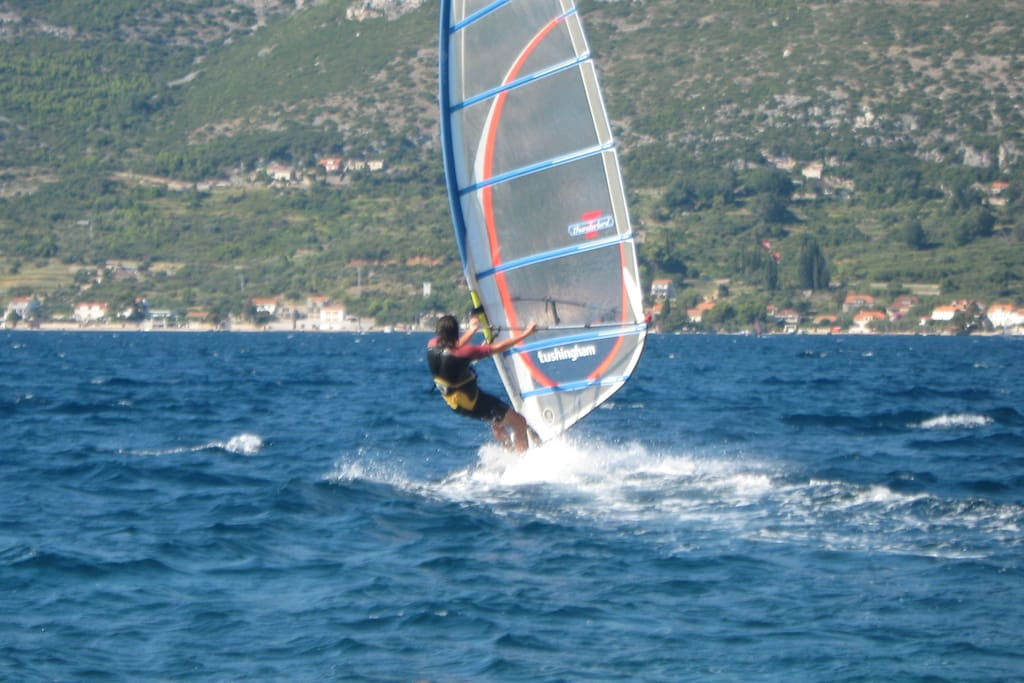Windsurfing-should you want to try, beach below the house is the perfect starting point!