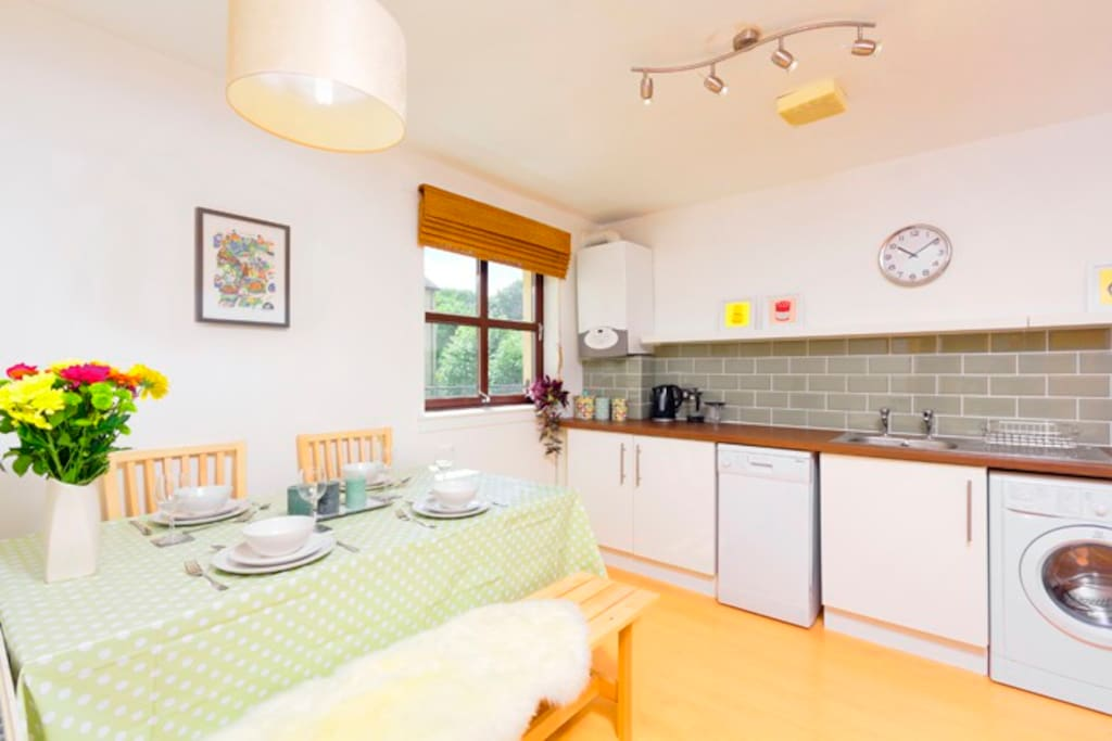 Large recently modernised kitchen-diner with seating for six (additional chairs on wall hooks).
