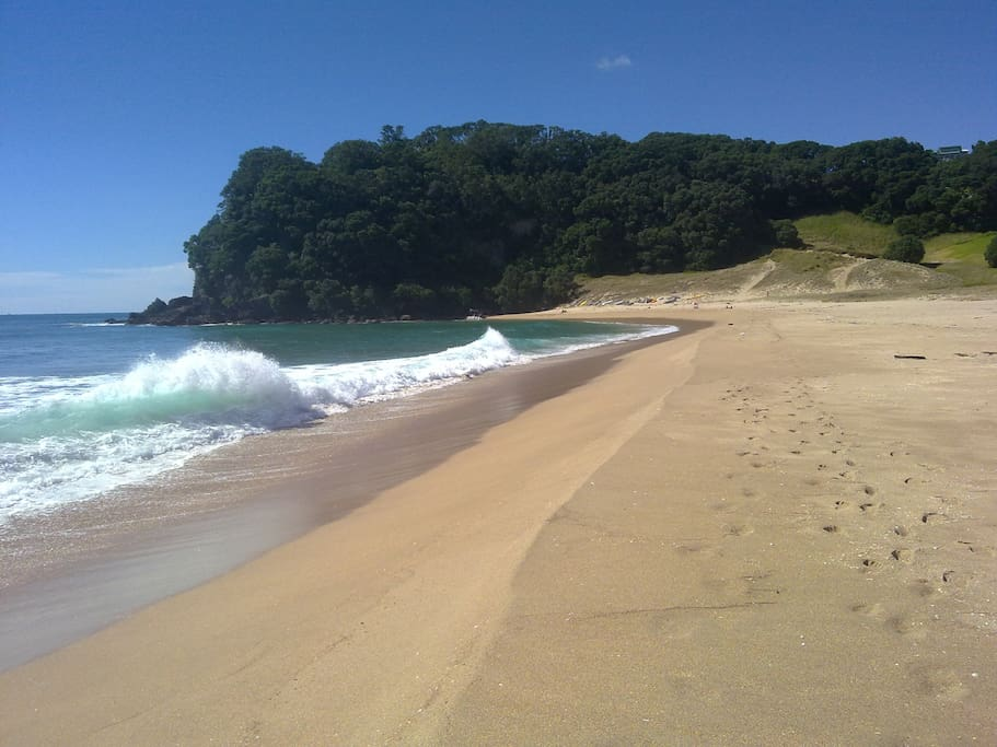 Onemana Beach, 5 minutes north - excellent cafe/restaurant.  Many other superb beaches throughout the Coromandel