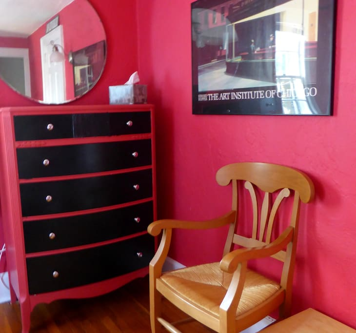 The dresser is here for you to use. Chair and small table are against the wall.