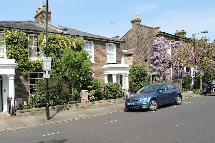 Cherry blossom and wisteria out on neighbour's house