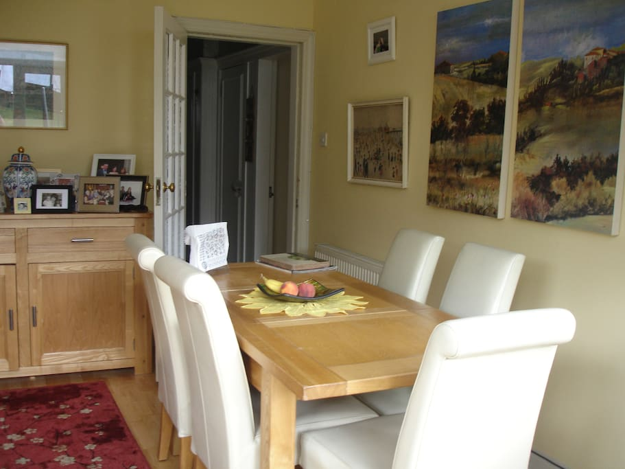 Dining room at back of house overlooking garden.