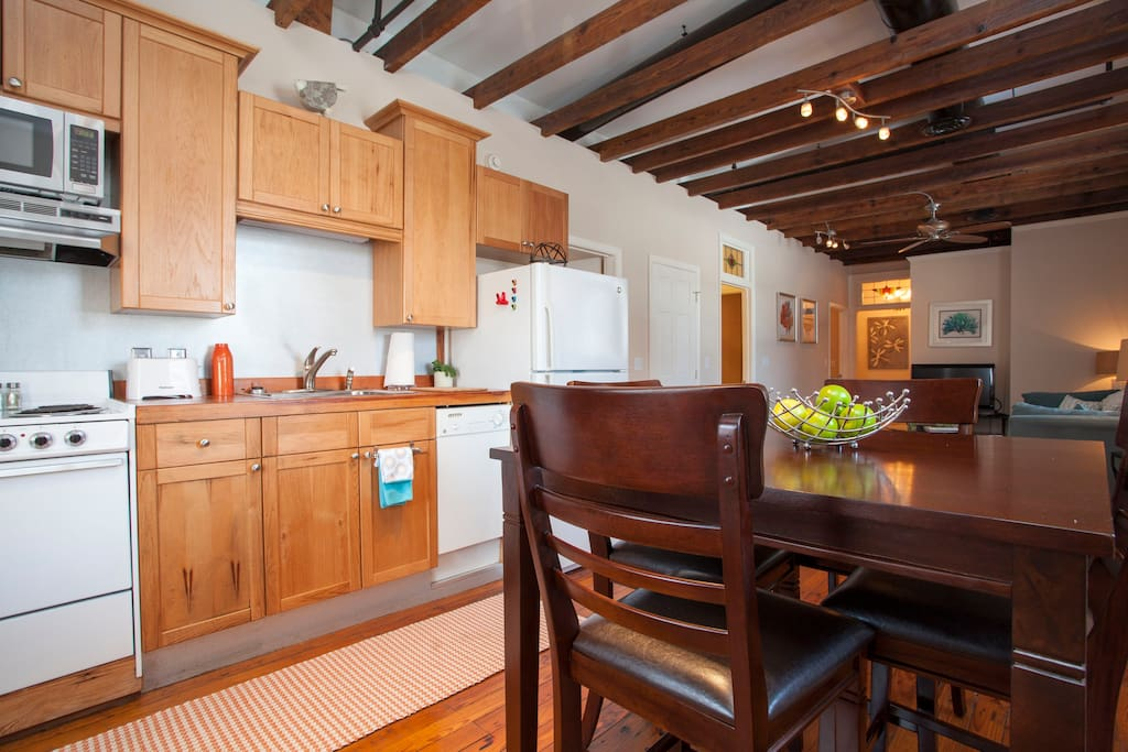 Well equipped kitchen open to the dining and living areas.