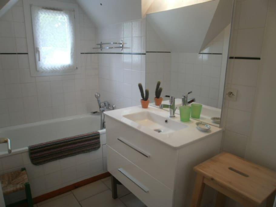 Baignoire et lavabo, serviettes de toilette fournies