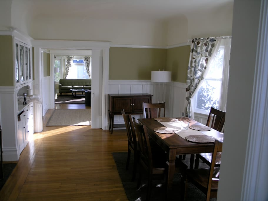 Berkeley Vacation Rental Dining room with fireplace and foyer and living room beyond