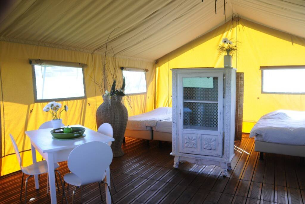 Inside of a safari tent