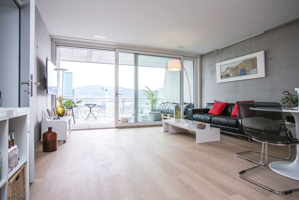 Panoramic view of zurich with 30sqm terrace apartments for Terrace zurich