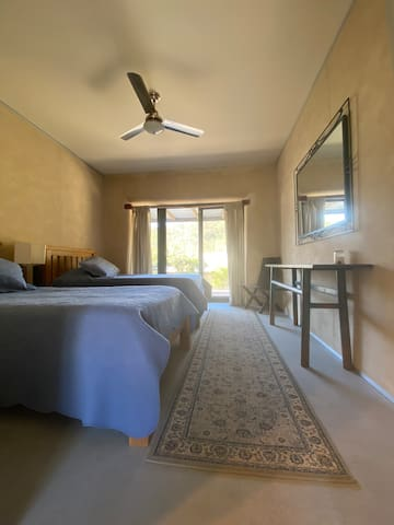 Twin Room with view to garden and bushland.