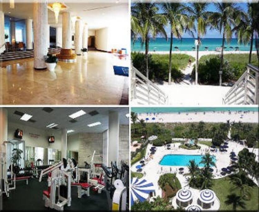 Lobby, Gym, Beach/Pool Access.