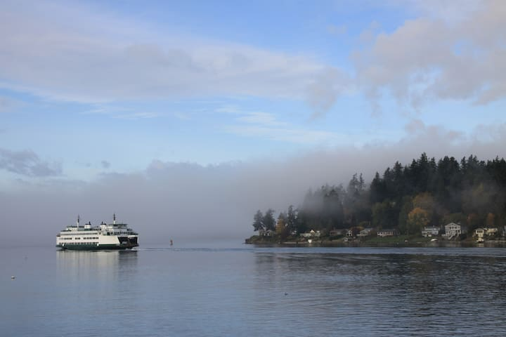 Ferry passing through Rich Passage from Bremerton to Seattle
