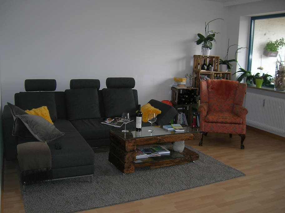 Lovely designed living room which will be yours during your stay (the couch can accomodate 2 people).
