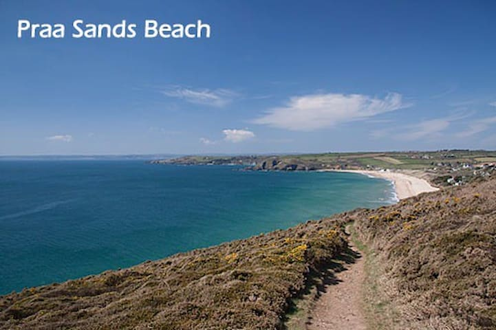 Beautiful, long, sandy Praa sands beach. Approximately 4 miles away , a family friendly beach with toilets, cafe,,bar, restaurant .