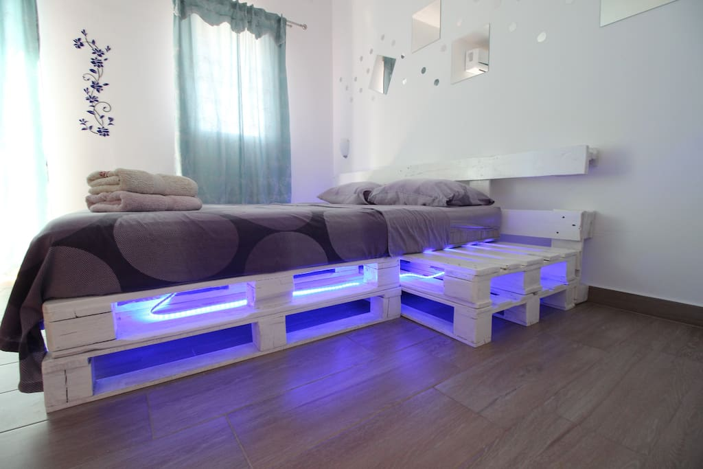 bed with LED light