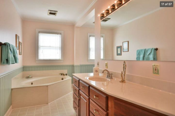 Downstairs bath with separate shower and garden tub.
