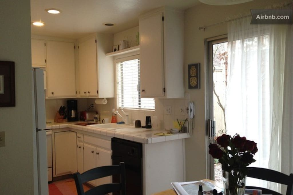 Full Kitchen: Pots, Pans, Cooking Utensils, Family-Sized Refrigerator, Dishwasher, Dishes, etc.