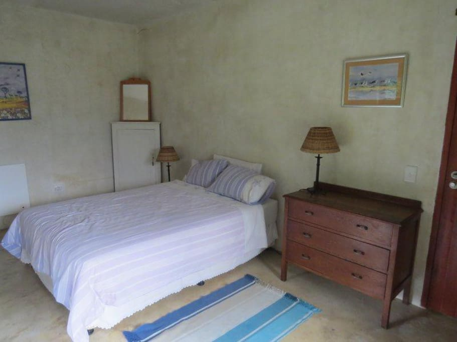 Spacious downstairs bedroom can sleep extra child on mattress