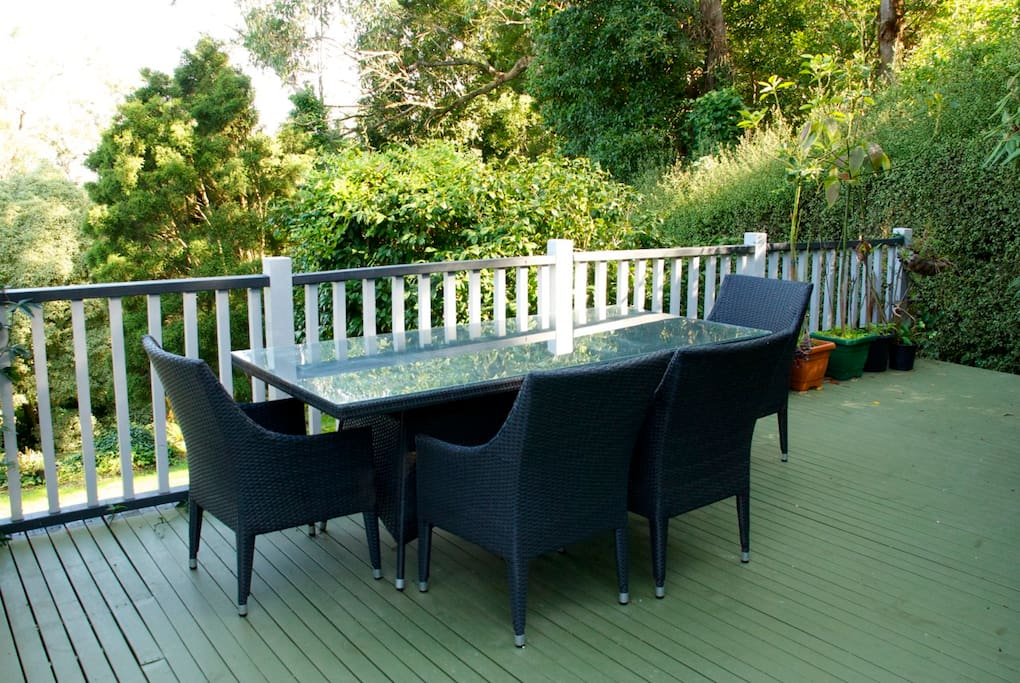 Enjoy breakfast or a barbecue on the back deck