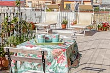 having breakfast on the terrace watching Capri