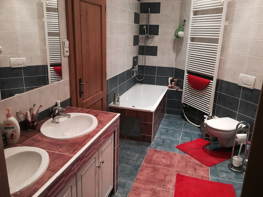 Shared bathroom with toilet, 2 sinks, bathtub and extra shower conner