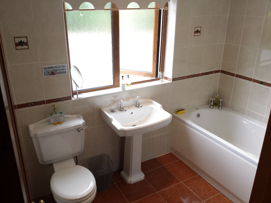 Spacious bathroom, with bath and large shower