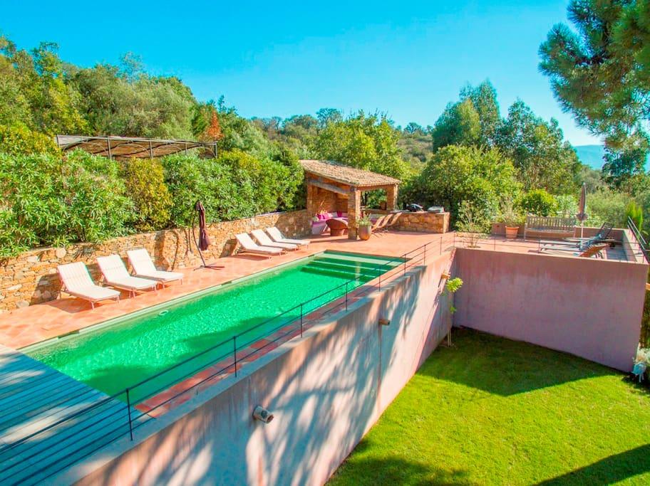 volet de fermeture piscine, piscine chauffee