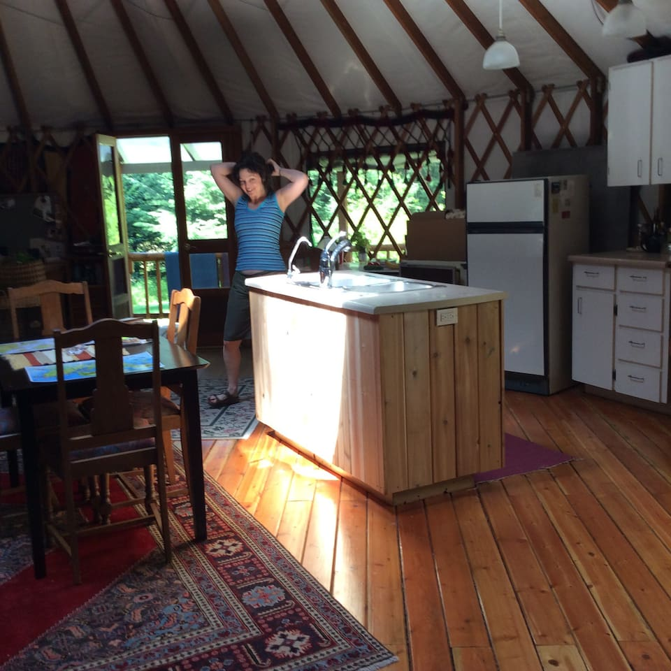 Full kitchen; has stove and refrigerator. Skylights and wood stove, large deck, bbq. Private drive and parking.(Christine not included)