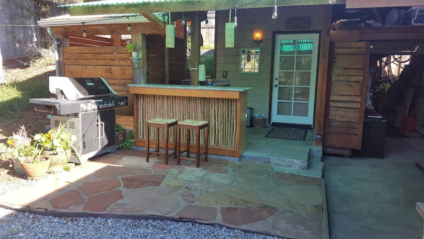 Patio area with bar counter and BBQ