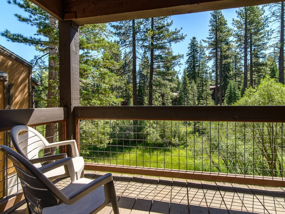 Step out onto the private balcony off of the master bedroom and enjoy the view.