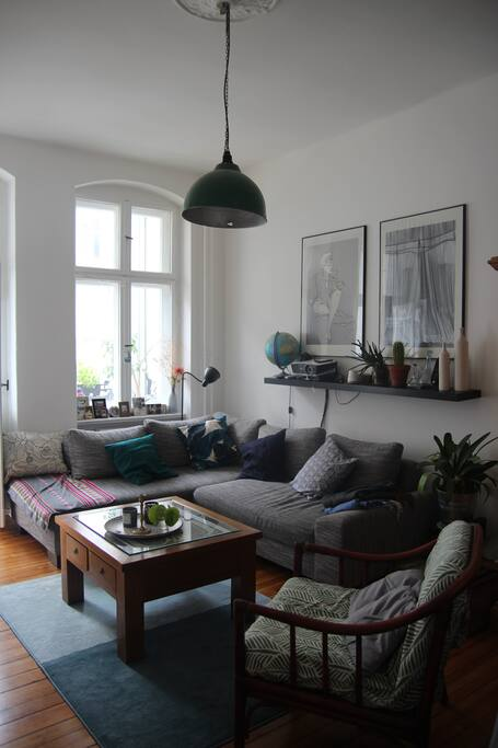 Living room with a convertible sofa