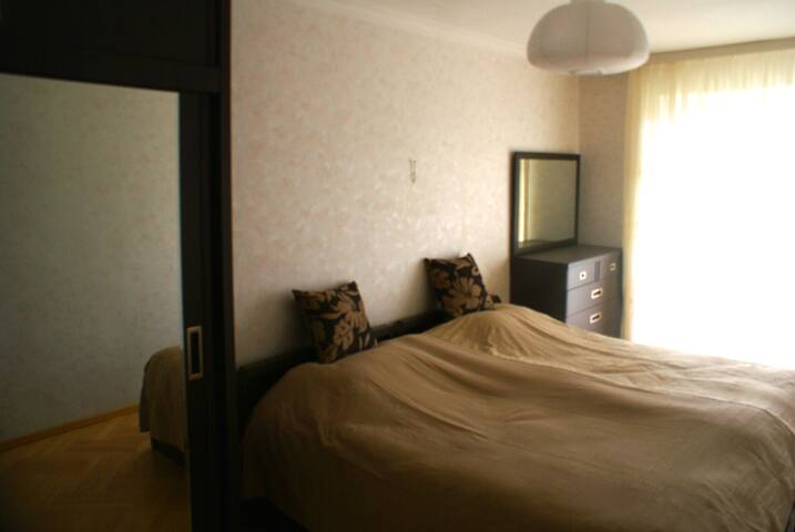 Bedroom with two-repeatable beds, Drawers, Closet and Balcony with view of Mtatsminda Mountain and Mtkvari River
