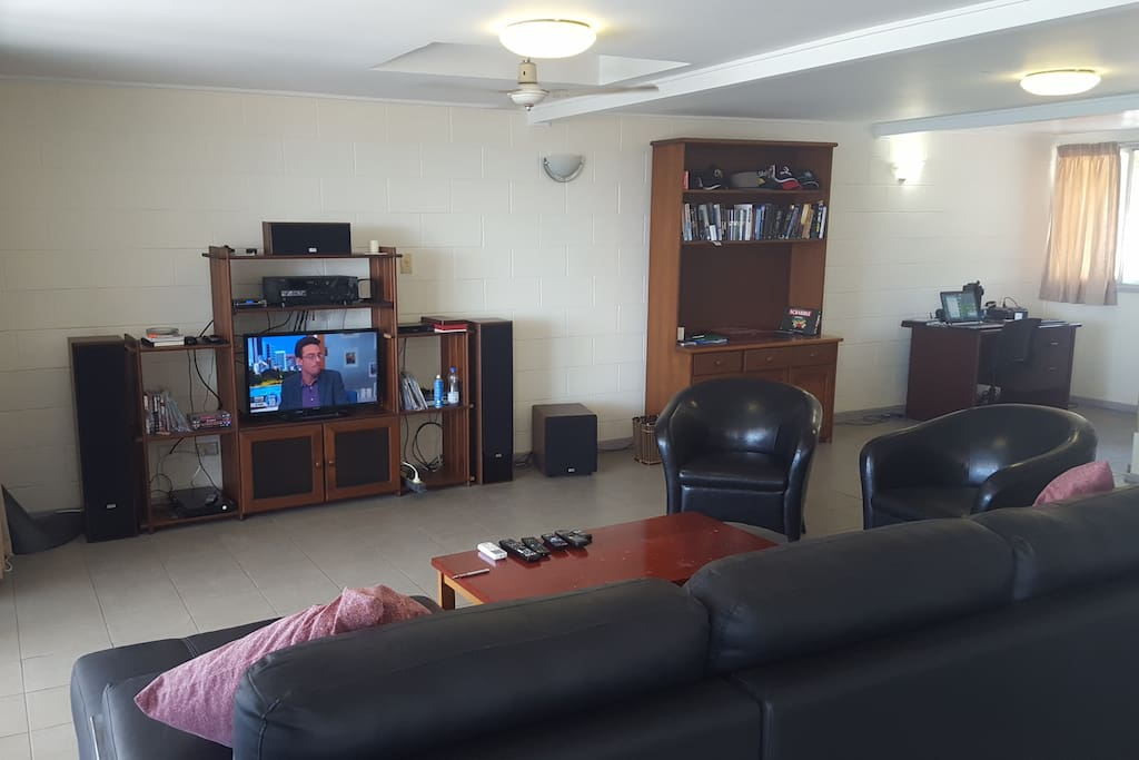 Free Wi-Fi, Cable TV, Blu-Ray/DVD, Lots of Movies, Music, Kick-ass Surround Sound, Desk, Books and Games