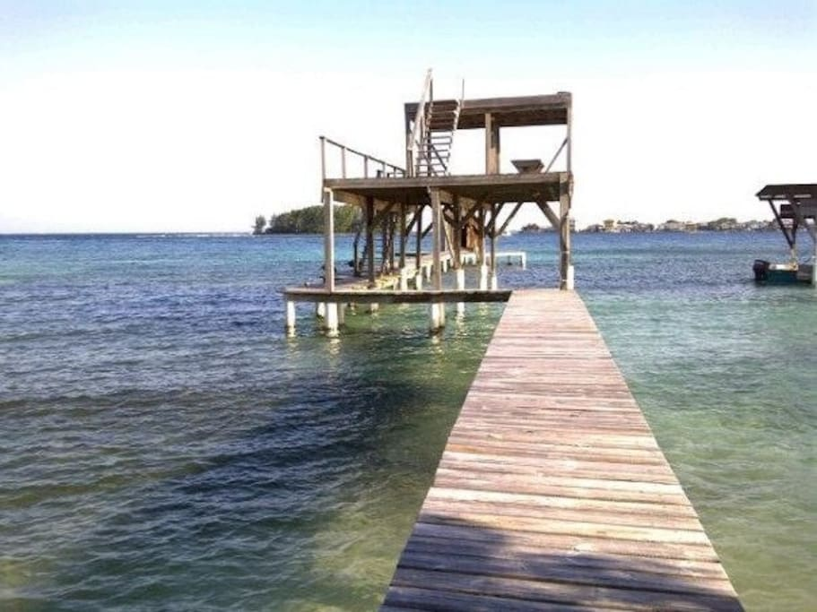 Three story dock up-close!  It goes back about 3 times out!  GREAT fishing, diving, snorkeling and kayaking!