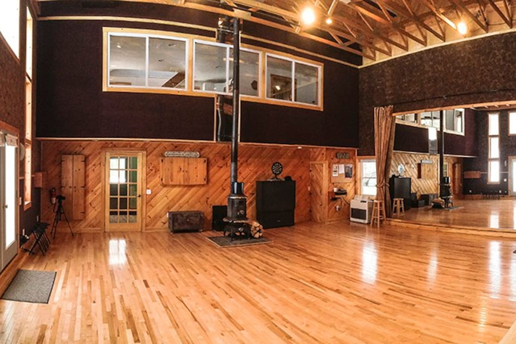 We have a 1200 square foot dance studio with an 18' high ceiling and sprung floor.