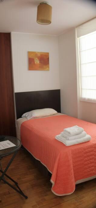 Cama individual con baño privado, economica y funcional, tv