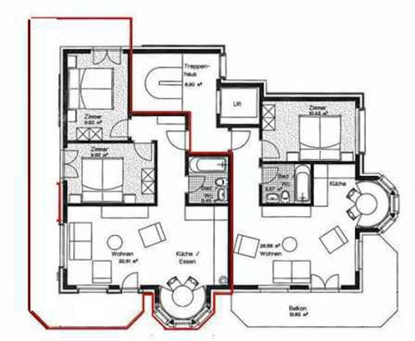 Floor plan. 2 bedrooms. One double, one with 3 beds (bunkbeds). double sofa bed.