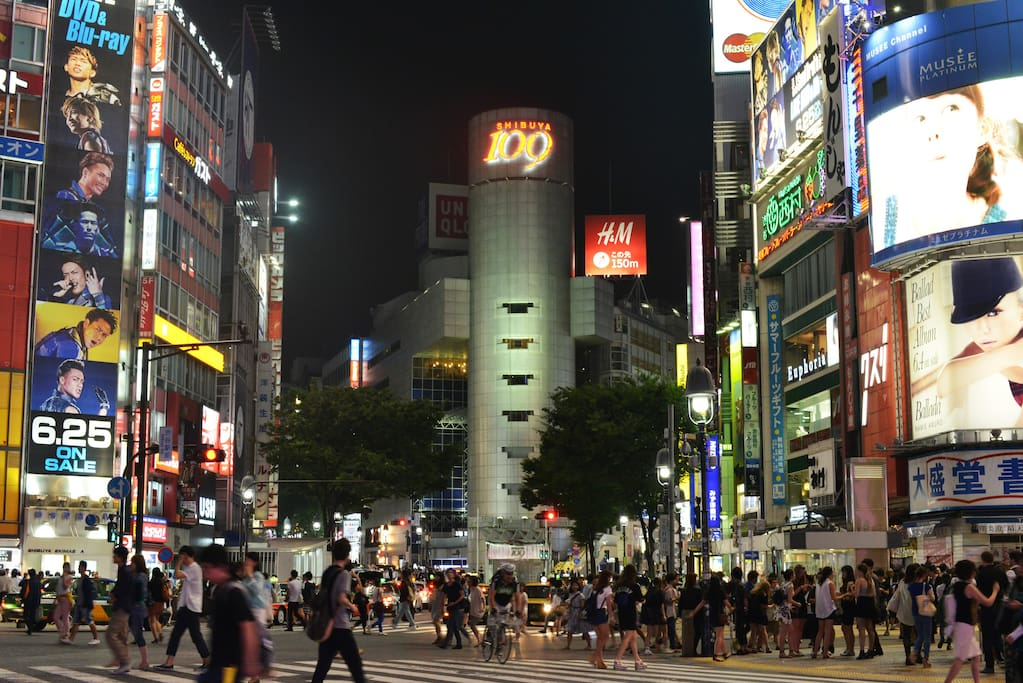 this is the famous shibuya crossing 5 mins away from studio by walk.