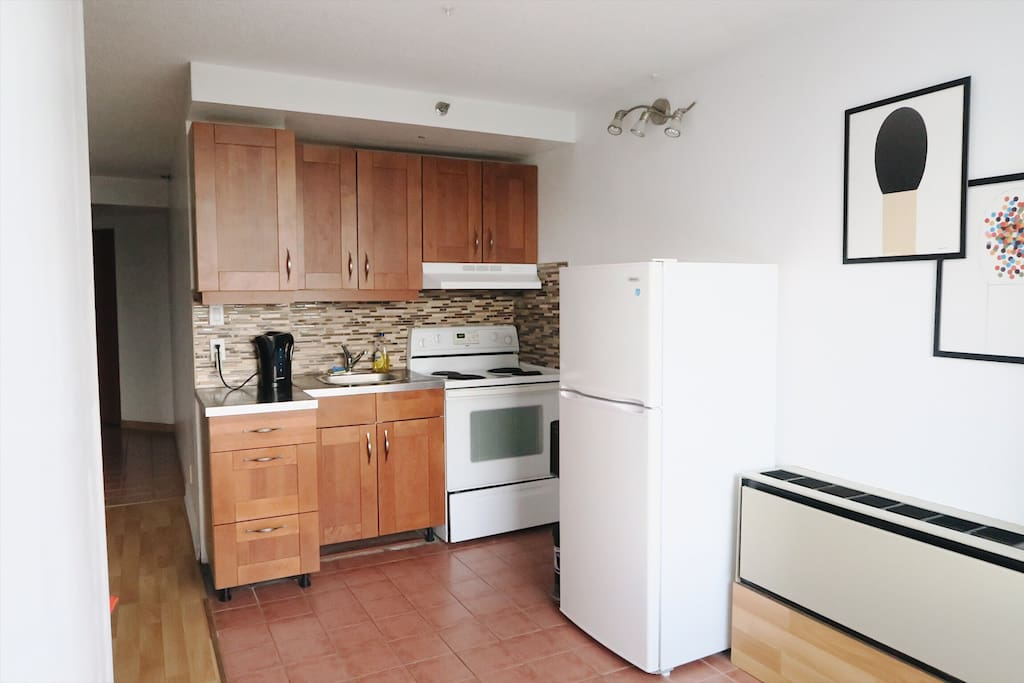 The kitchen is also equipped with a kettle and coffee maker, should you need it.