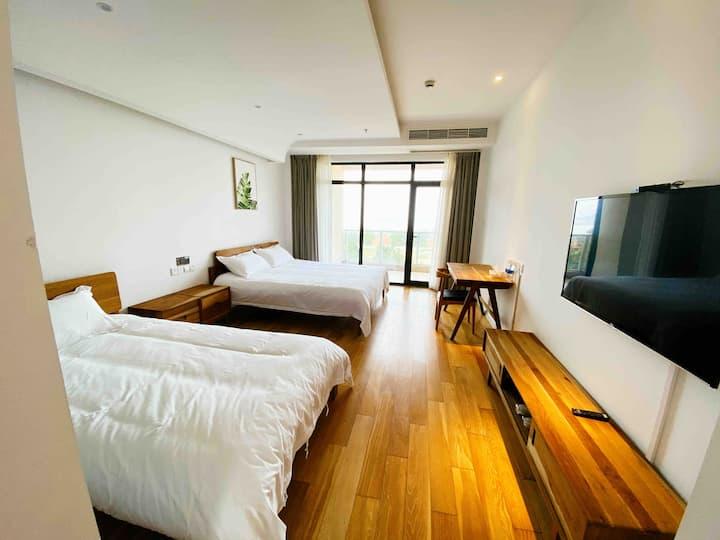 嵊泗列岛基湖沙滩景区内的酒店式公寓超大阳台观海 标间海景房