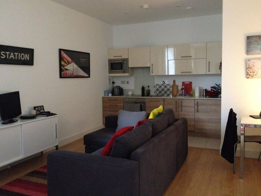 Living and kitchen area, double sofa bed