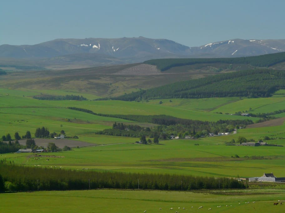 View to Ben Avon and Cairngorm Mountains from Folds cottage