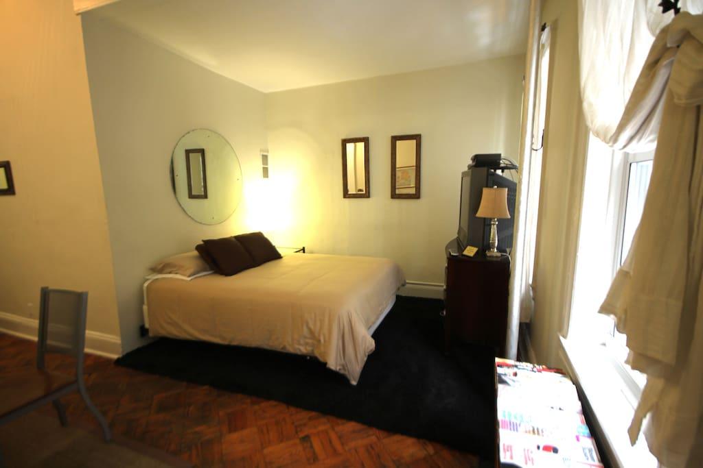 Queen Bed in Living Area